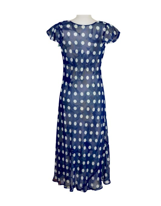 0791 Paramour Reversible 2 In 1 Capped Sleeve Dress Navy & White Polka Dot / Floral C