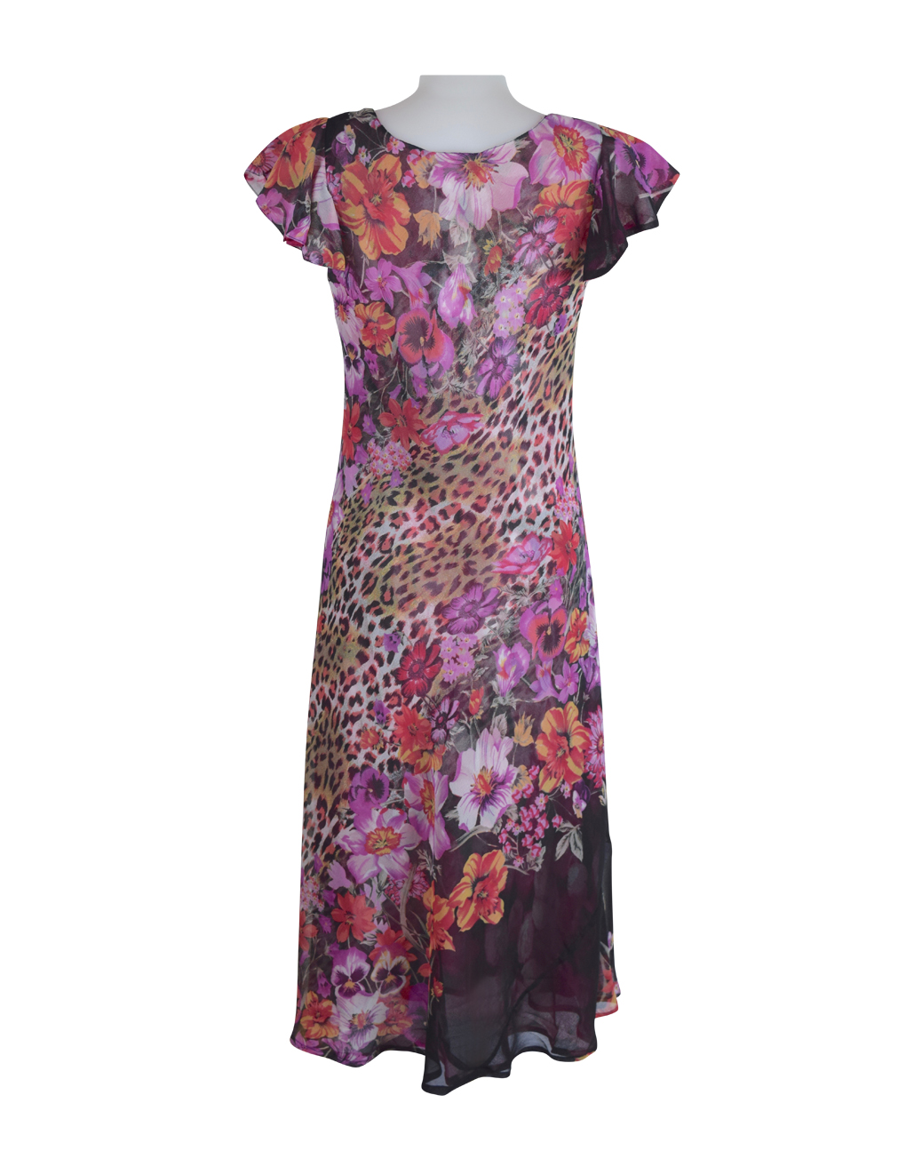 Paramour Reversible 2 In 1 Capped Sleeve Dress Pink Abstract / Leopard Floral D
