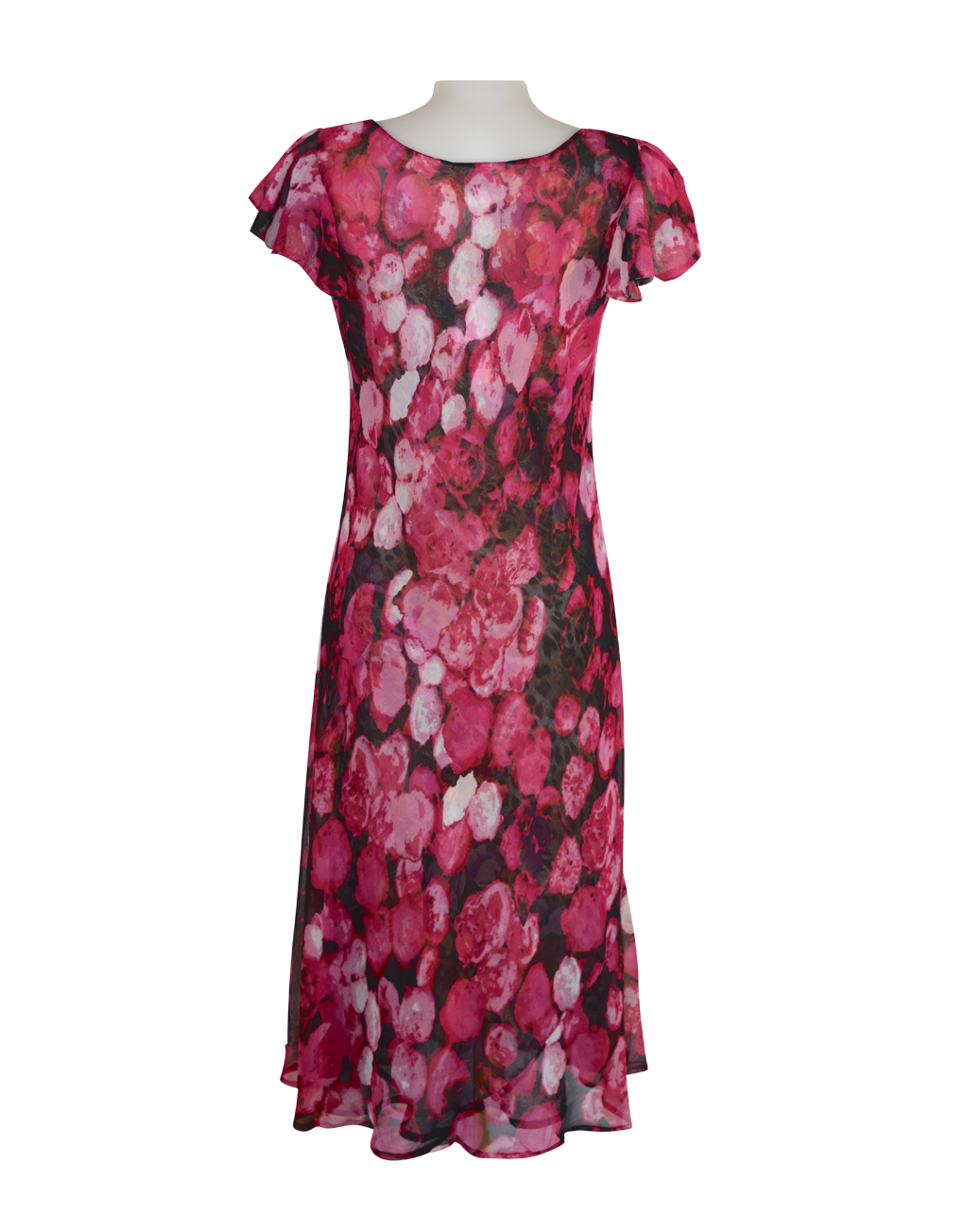 Paramour Reversible 2 In 1 Capped Sleeve Dress Pink Abstract / Leopard Floral C