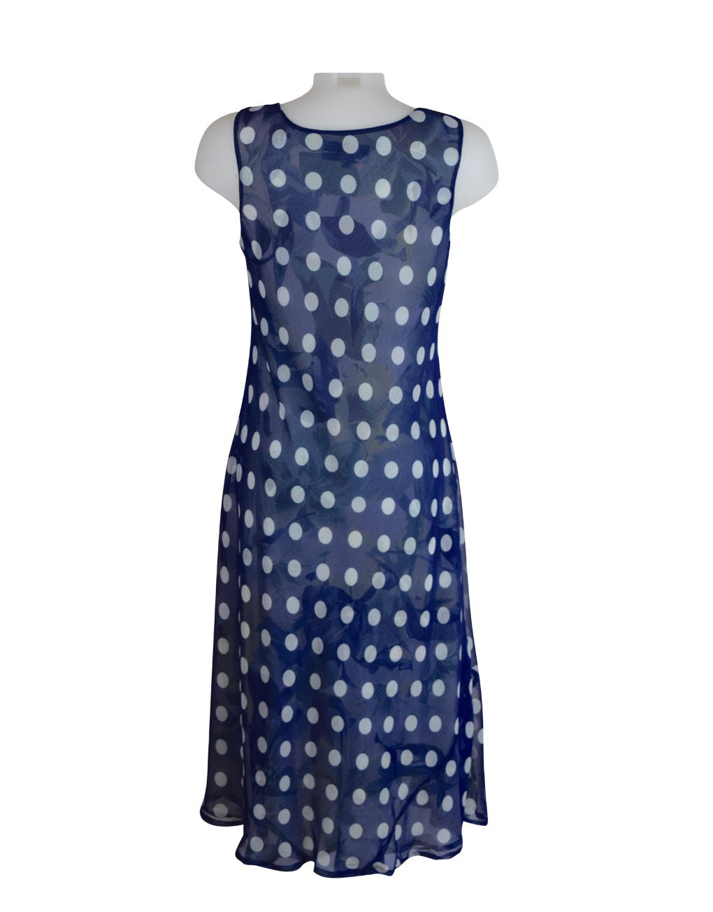 Paramour Reversible 2 In 1 Sleeveless Dress Navy & White Polka Dot / Floral L C