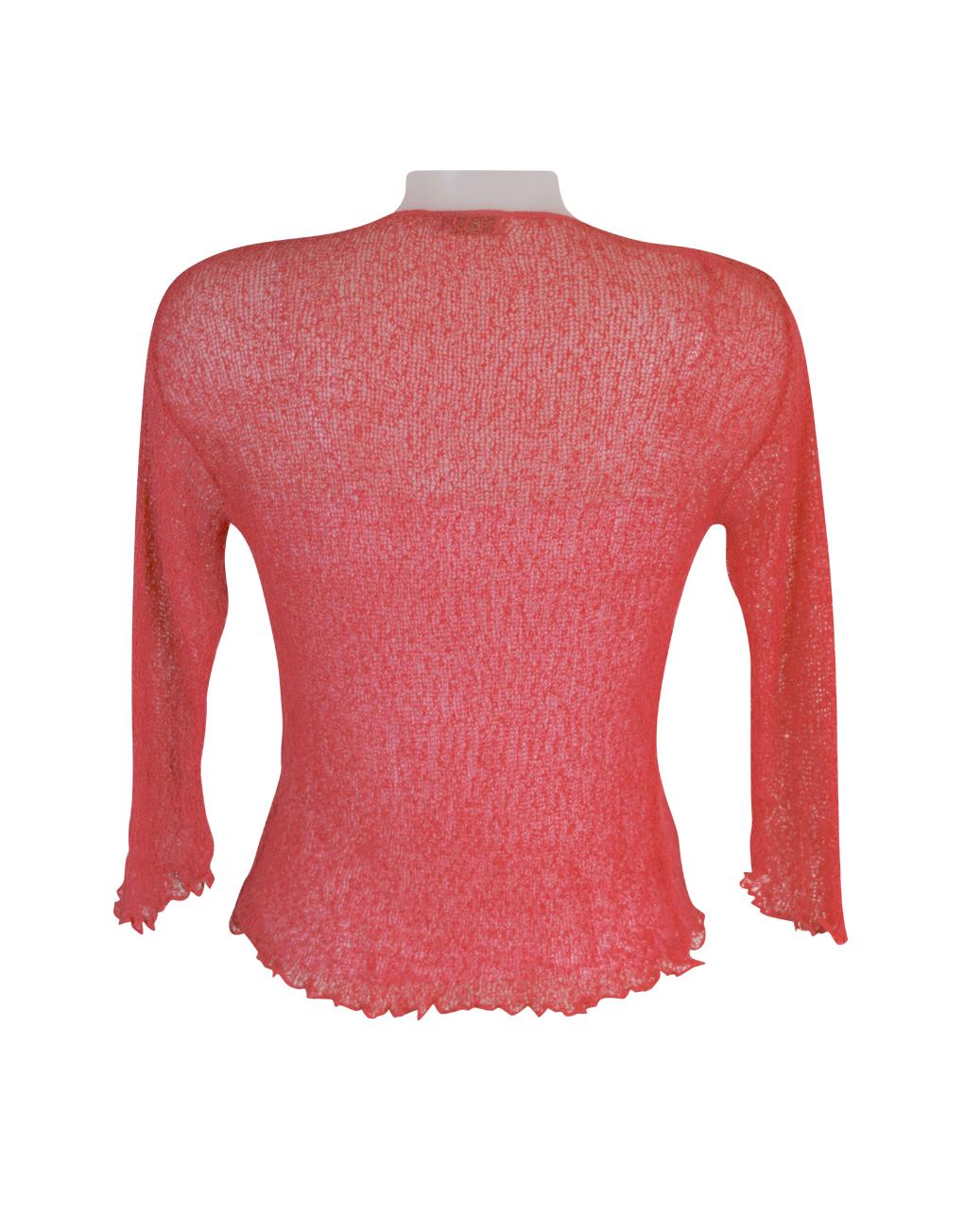 Coral net cardigan back