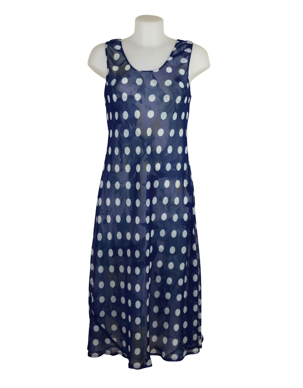 Paramour Reversible 2 In 1 Sleeveless Dress Navy & White Polka Dot / Floral L A