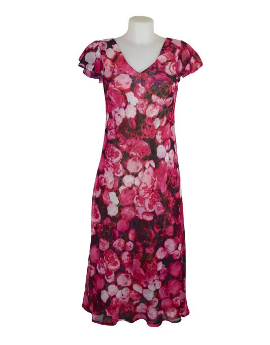 Paramour Reversible 2 In 1 Capped Sleeve Dress Pink Abstract / Leopard Floral A