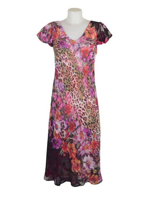 Paramour Reversible 2 In 1 Capped Sleeve Dress Pink Abstract / Leopard Floral B