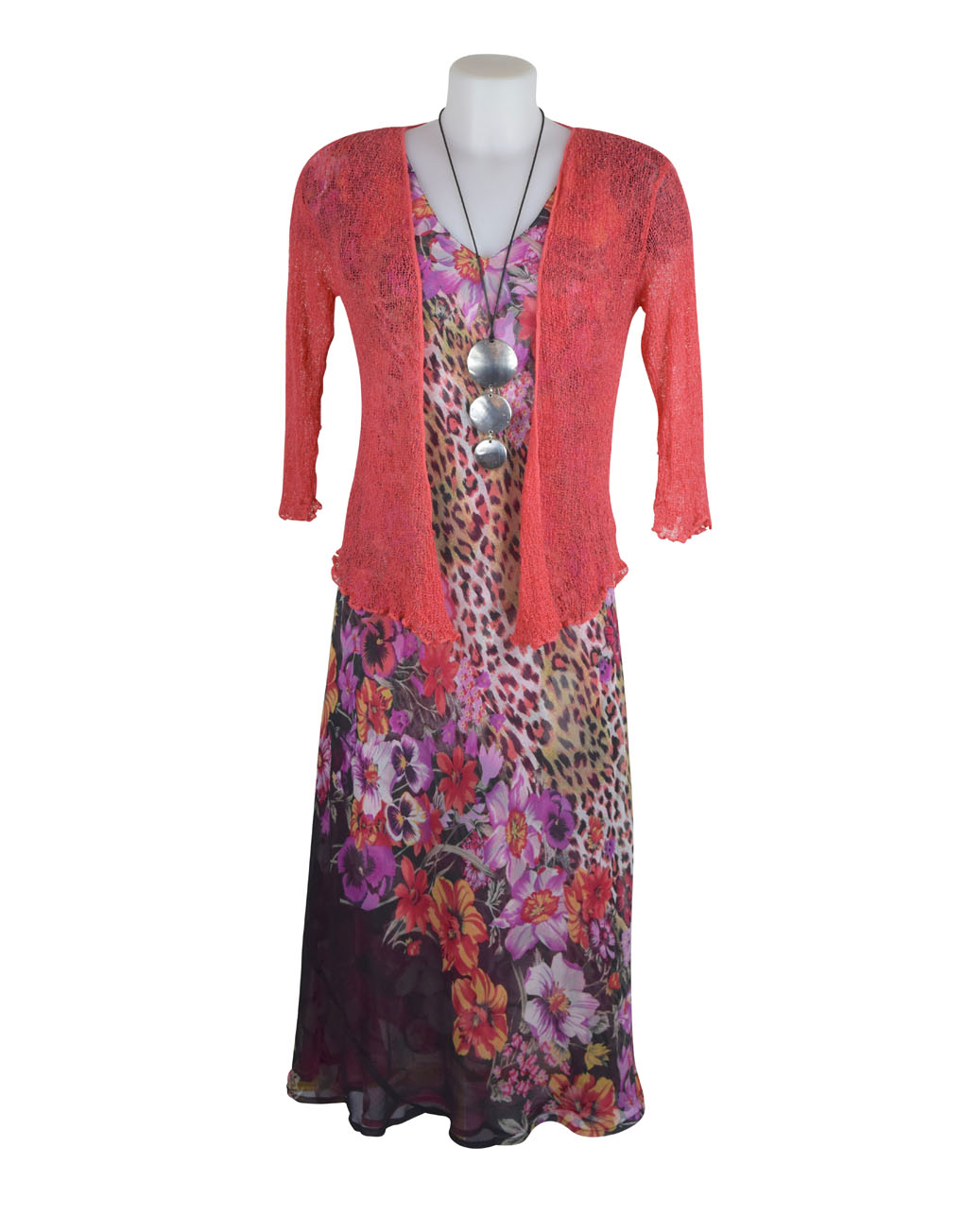 Paramour Reversible 2 In 1 Capped Sleeve Dress Pink Abstract / Leopard Floral E