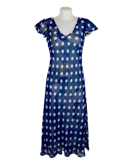 Paramour Reversible 2 In 1 Capped Sleeve Dress Navy & White Polka Dot / Floral A