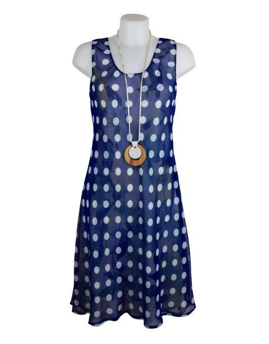 DSC_0880Paramour Reversible 2 In 1 Sleeveless Dress Navy & White Polka Dot / Floral S A
