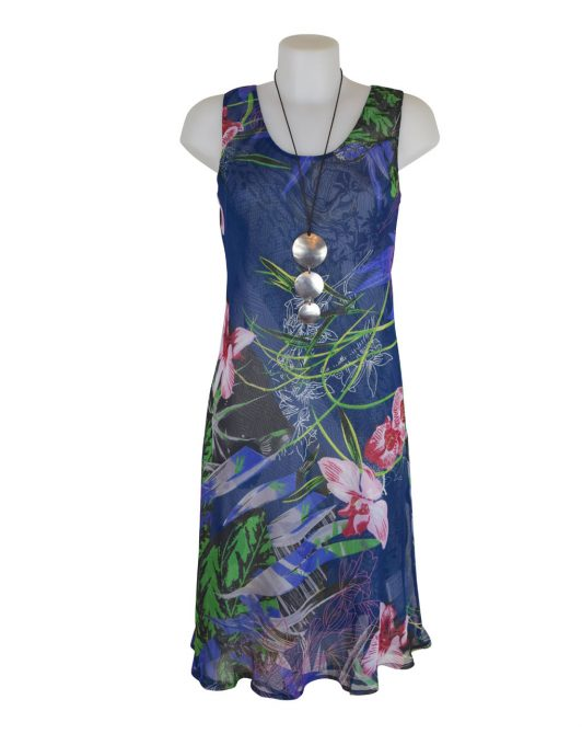 Paramour Reversible 2 In 1 Sleeveless Dress Blue / White A