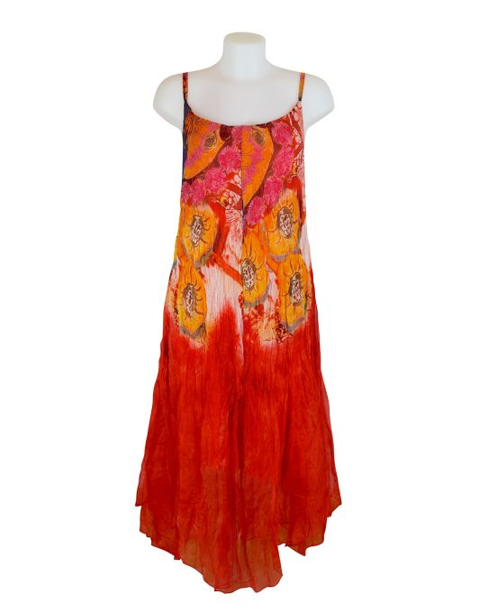 Sensations Pour Elle Orange Abstract Print Maxi Dress One Size / T