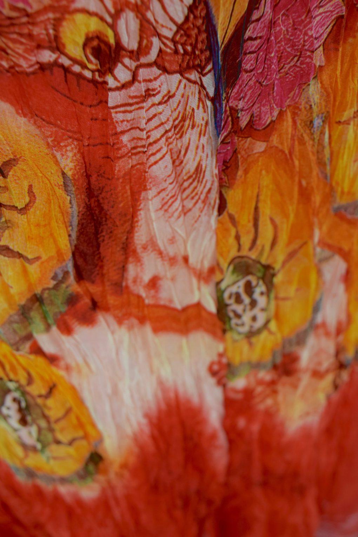 Sensations Pour Elle Orange Abstract Print Maxi Dress One Size / T Swatch