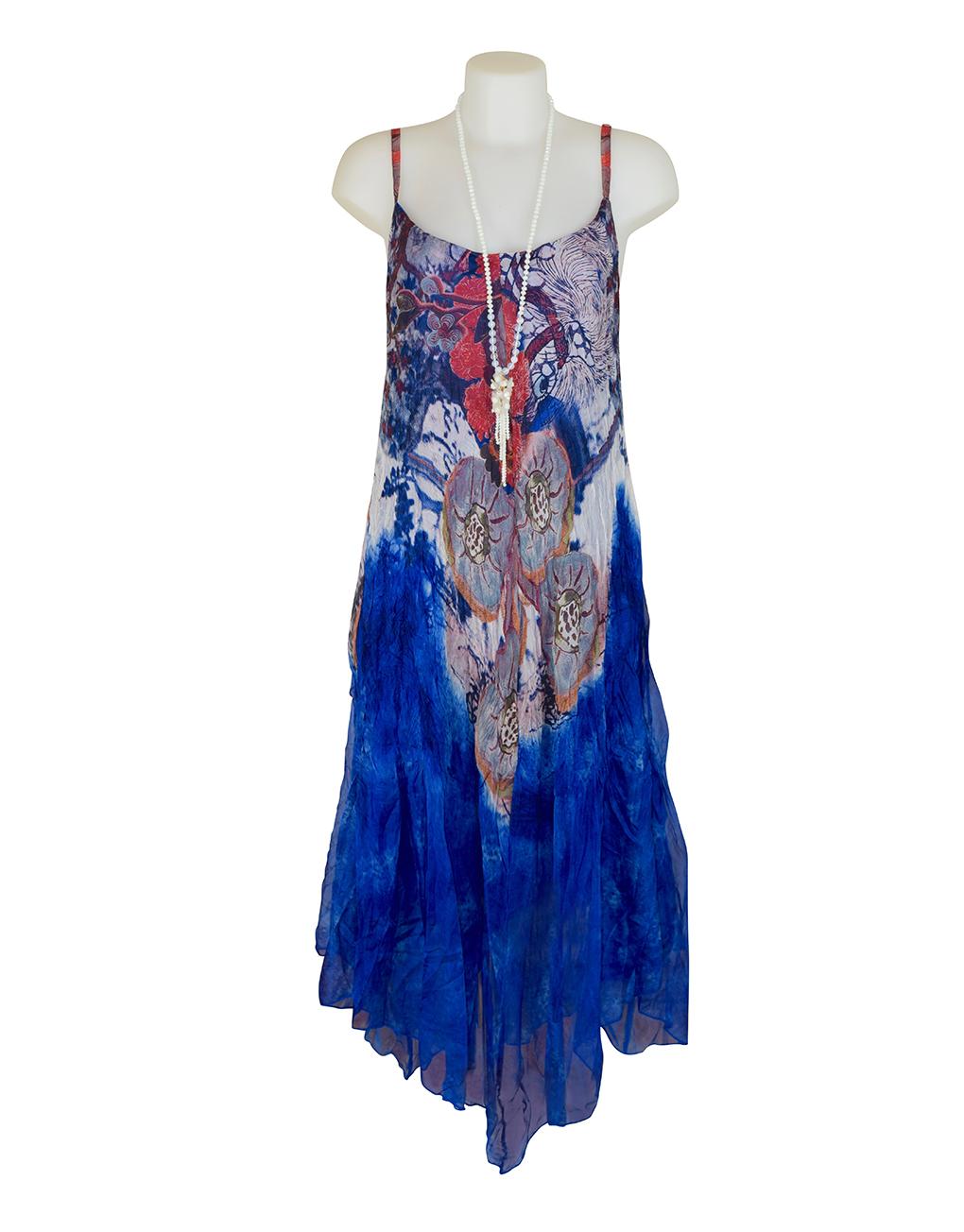 Sensations Pour Elle Royal Blue Abstract Print Maxi Dress One Size / T