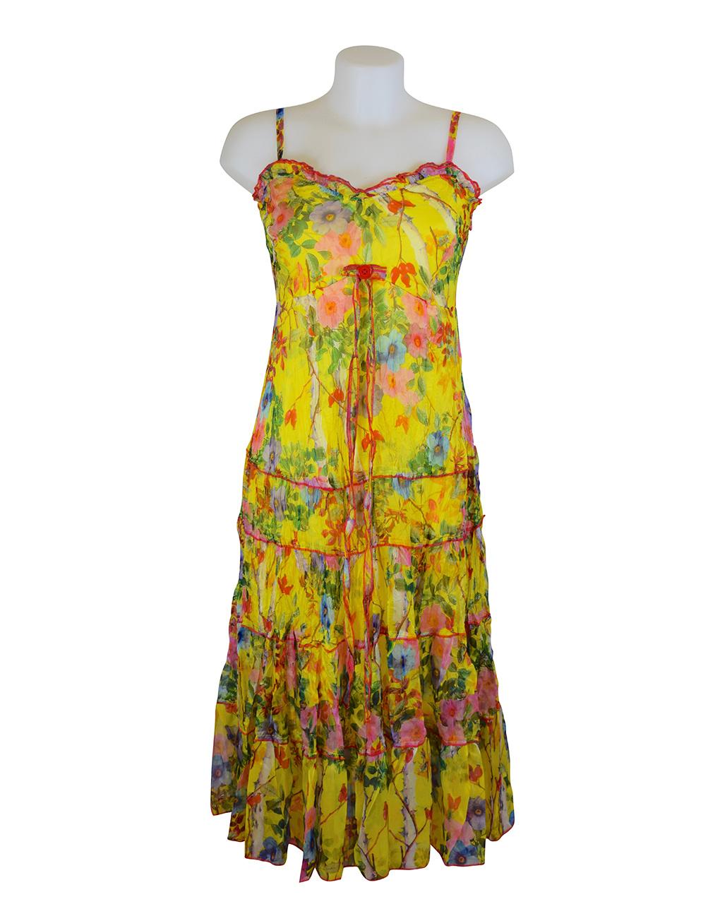 Sensations Pour Elle Yellow Floral Maxi Dress One Size