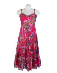 Sensations Pour Elle Cerise Pink Floral Maxi Dress One Size