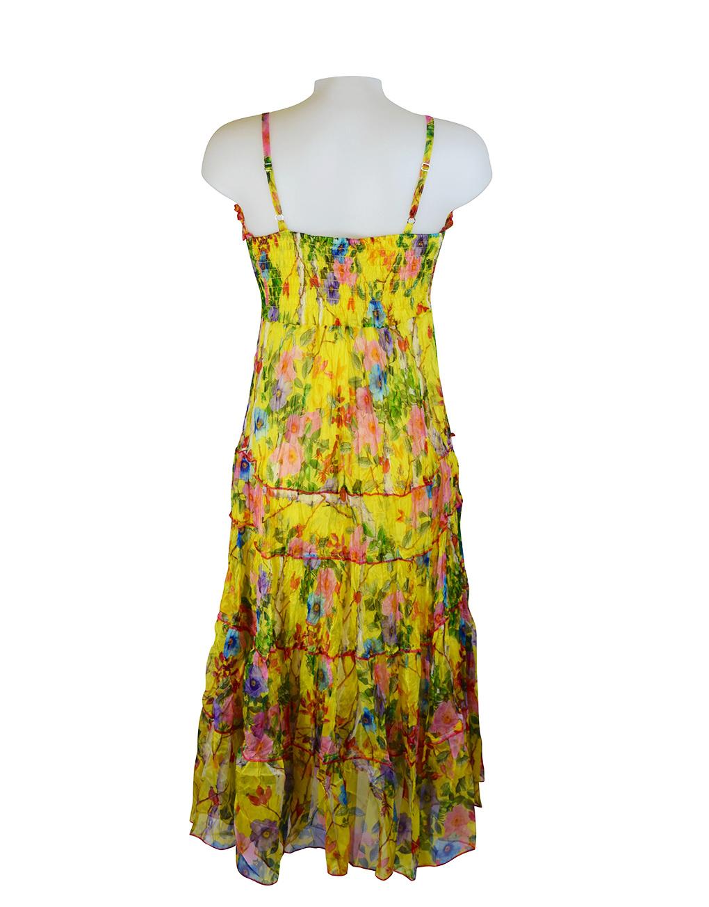 Sensations Pour Elle Yellow Floral Maxi Dress One Size Reverse