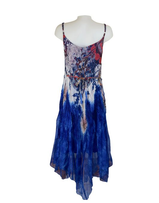 Sensations Pour Elle Royal Blue Abstract Print Maxi Dress One Size / T Reverse