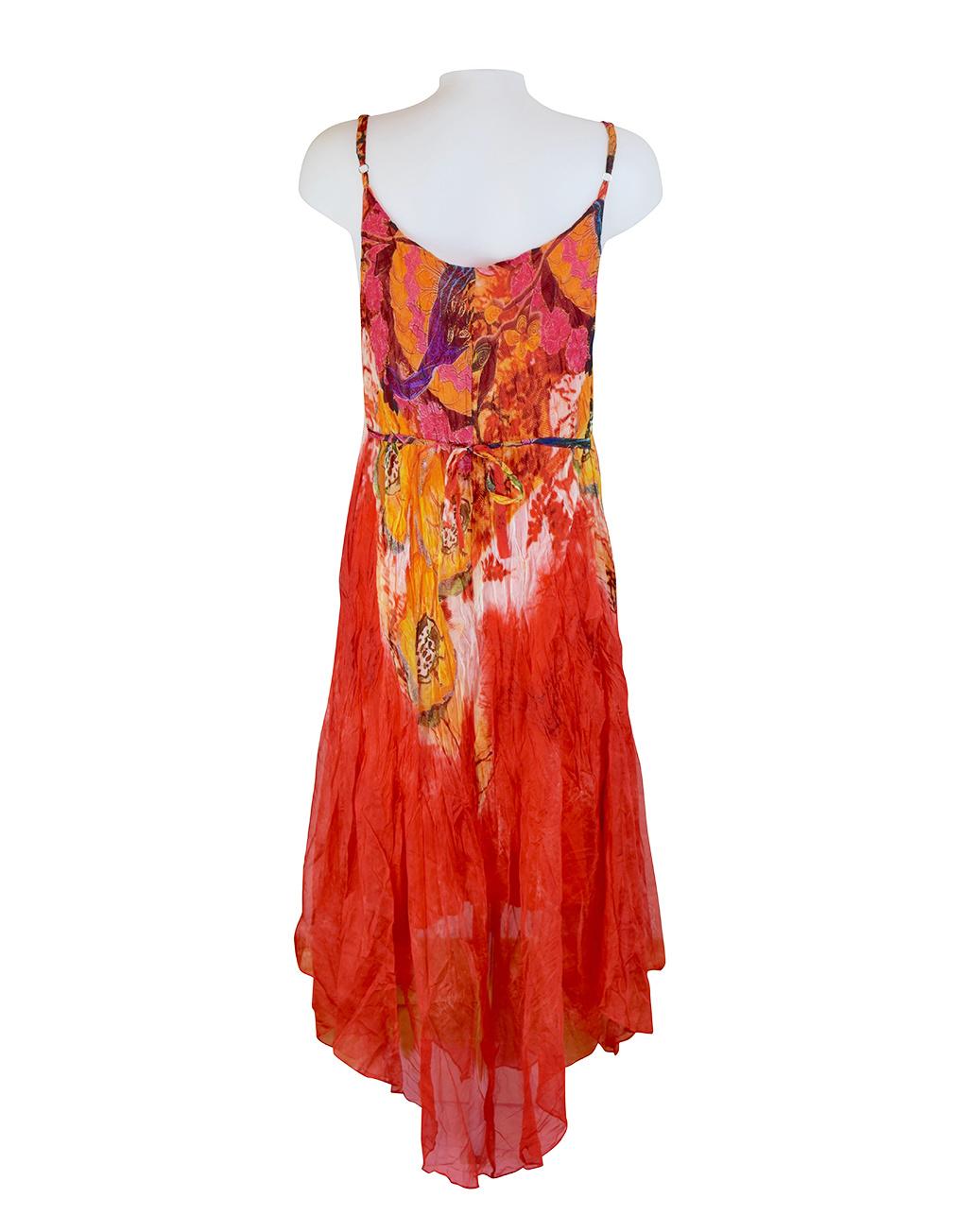 Sensations Pour Elle Orange Abstract Print Maxi Dress One Size / T Reverse