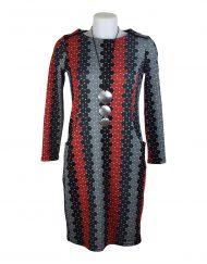 Alice Collins Julia Dress Stack Polka Grey Front 023A103
