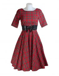 Hell Bunny Irvine Tartan 50's Dress Front