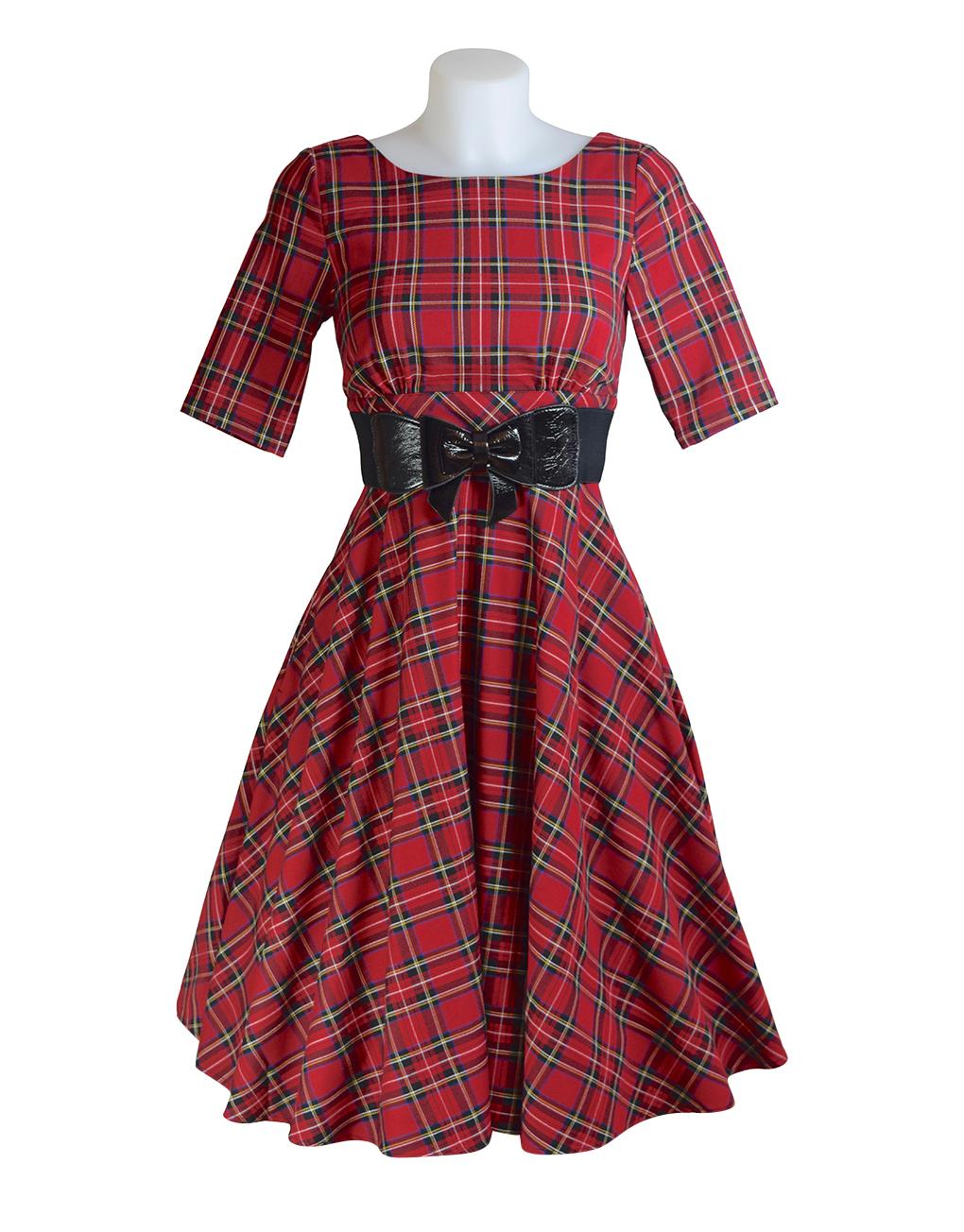 Hell Bunny Irvine Tartan 50's Dress Front