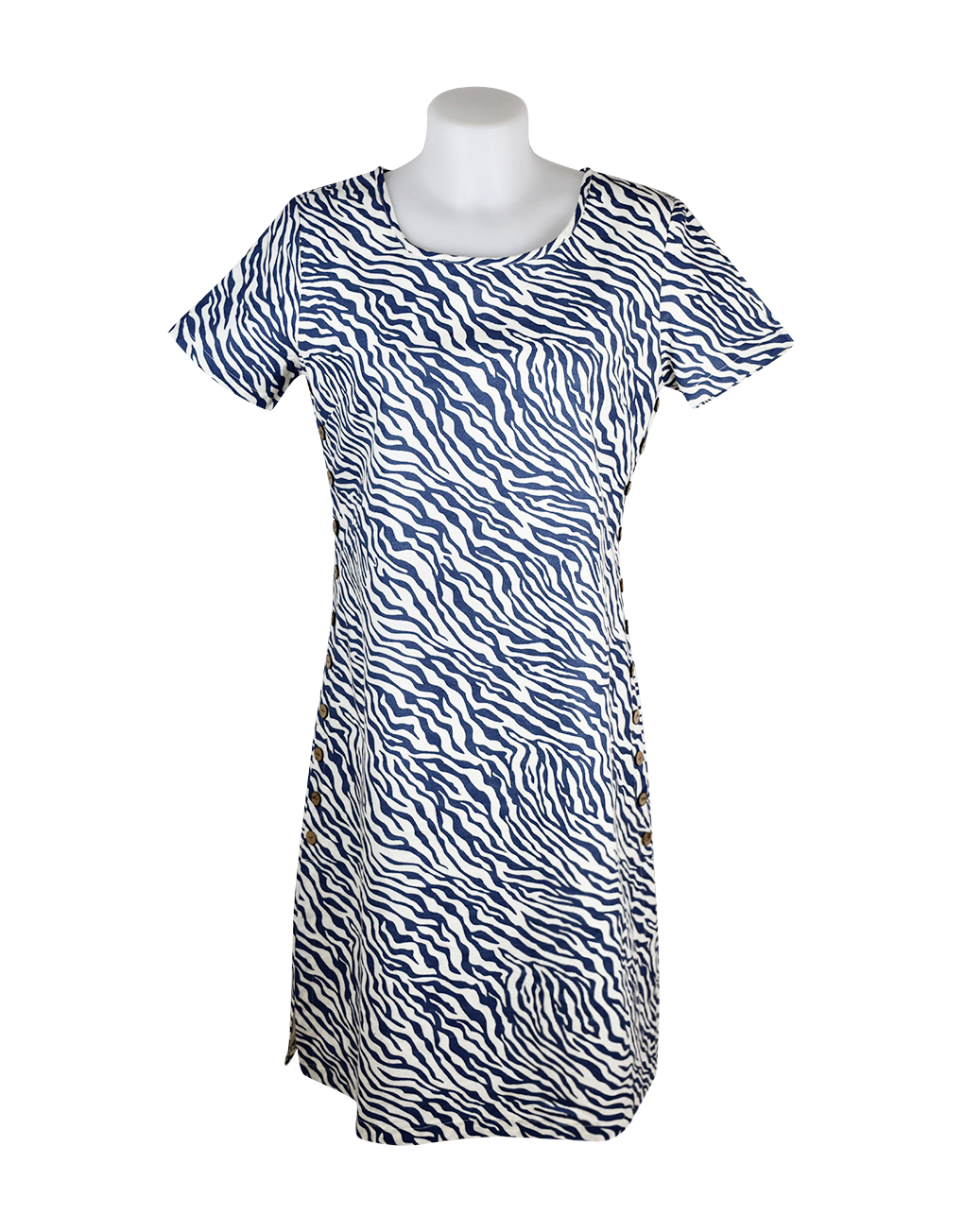 Alice Collins Kylie Dress Indigo Zebra Front 024S070