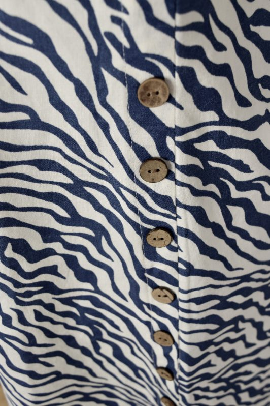 Alice Collins Kylie Dress Indigo Zebra Swatch 024S070