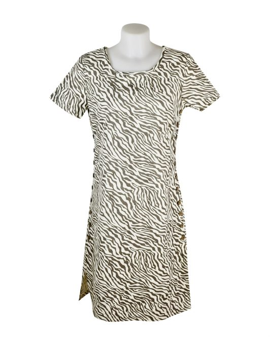 Alice Collins Kylie Dress Mushroom Zebra Front 024S070
