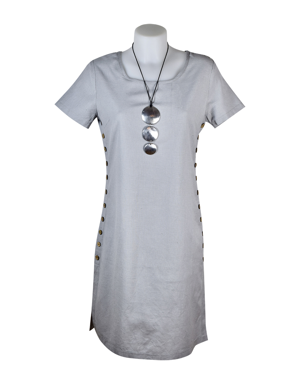 Alice Collins Kylie Dress Cool Steel Front 024S070