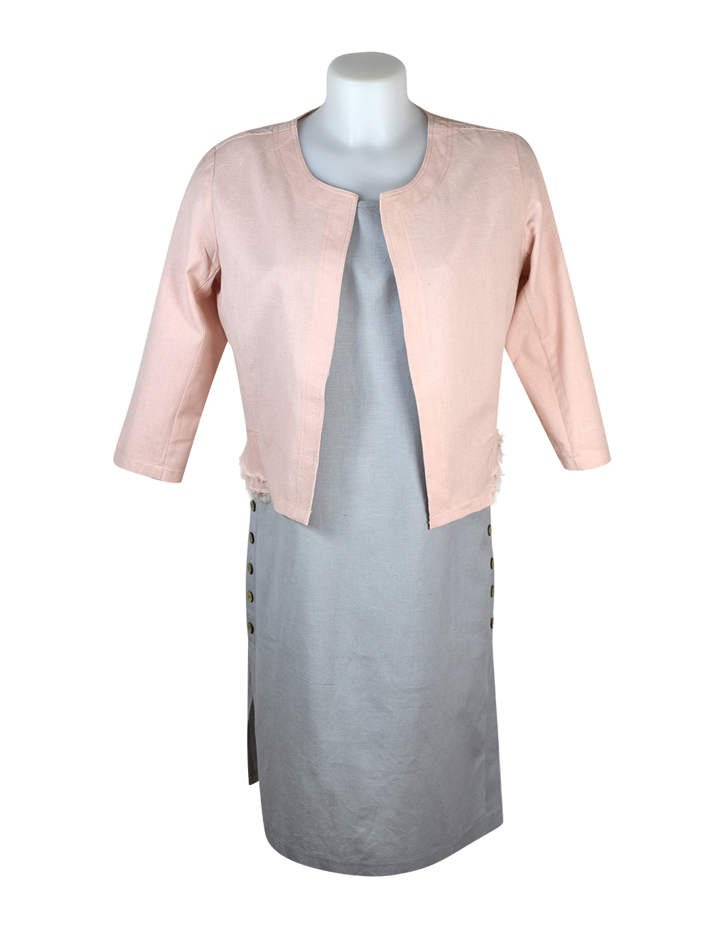 Alice Collins Kylie Dress Cool Steel Front 024S070 & Grace Jacket Dark Pink 024S076