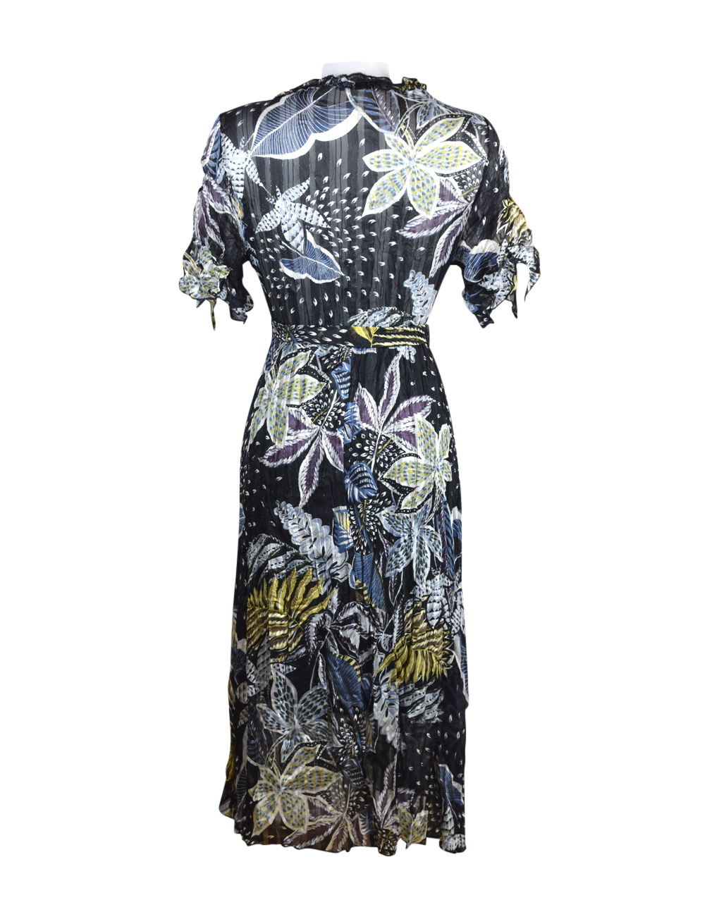 2010 20H Sensations Pour Elle Black Leaf Sleeve Dress One Size