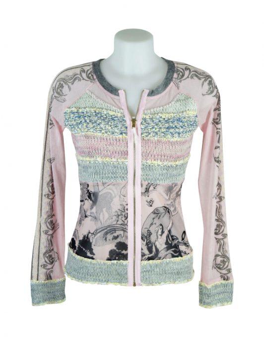 LULU H Pink & Black Zipped Top