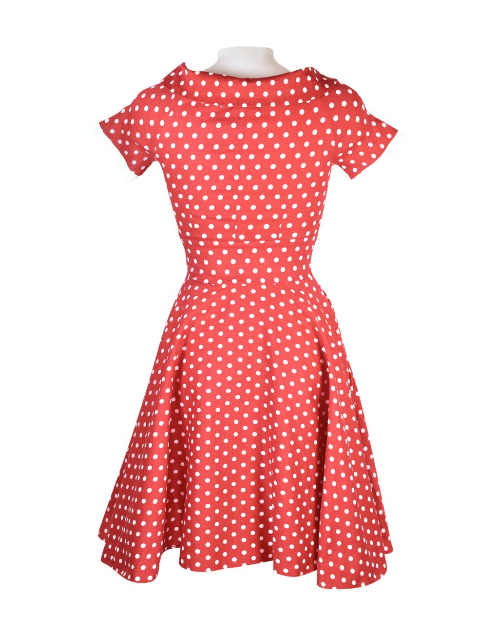 Dolly & Dotty Darlene Red & White Polka Dot Dress Back V333