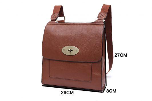 Cross Body Satchel Bag Tan Size