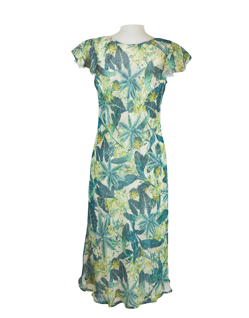 Paramour Reversible 2 In 1 Capped Sleeve White & Green Dress