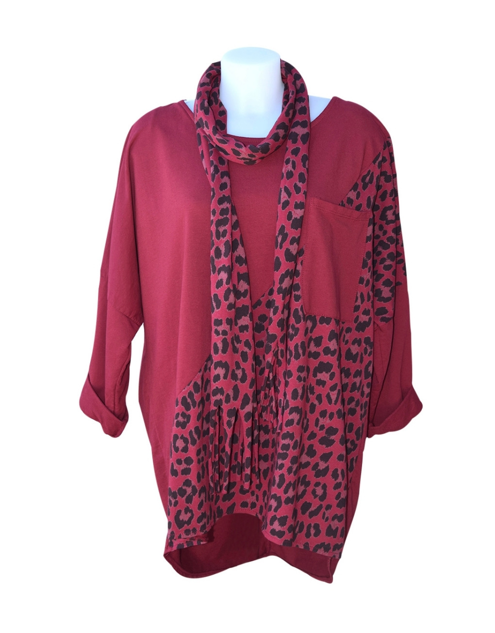 Fashion Fix Italian Leopard Print Cotton Top With Scarf Wine