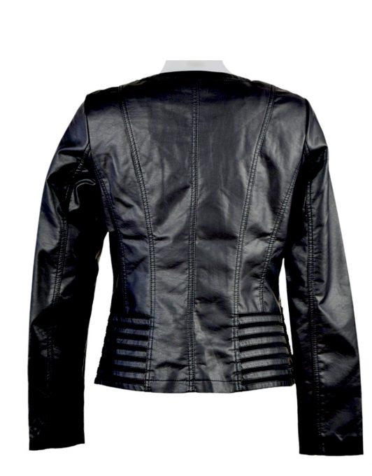 Escandelle Paris Round Neck Faux Leather Black Jacket