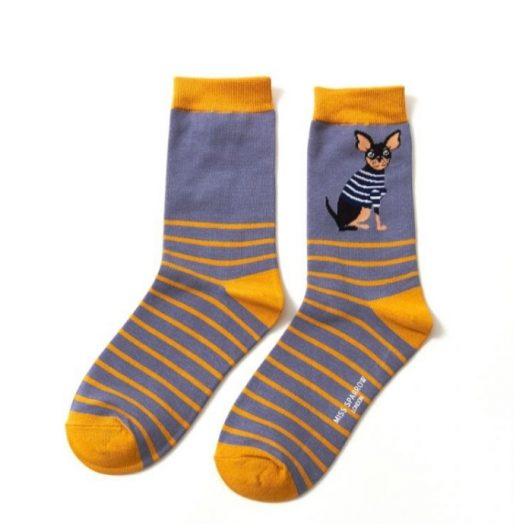 Miss Sparrow Chihuahua Blue Socks 171